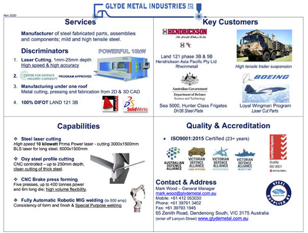 Quad Chart for defence contractors in Melbourne from Glyde Metal Industries